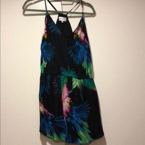 Milly Black/Multi Parrot Print Racerback Dress